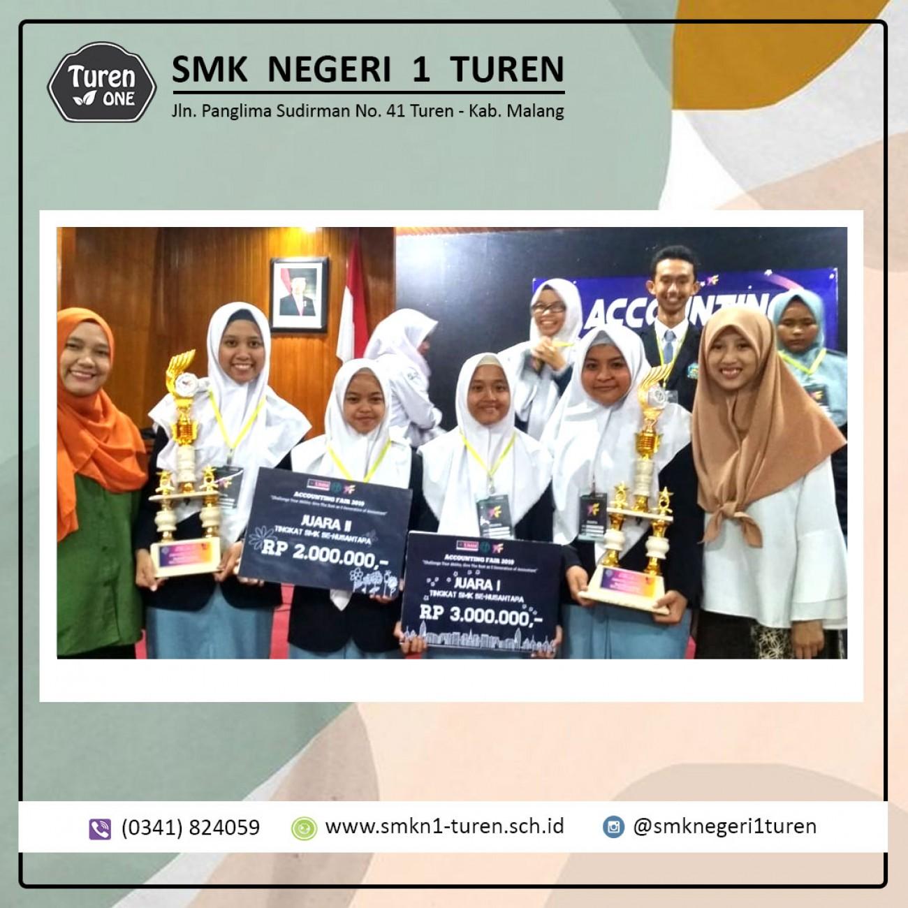 Tim Akuntansi SMKN 1 Turen berhasil meraih juara 1 dan 2 dalam Accounting Fair 2019 tingkat Nasional