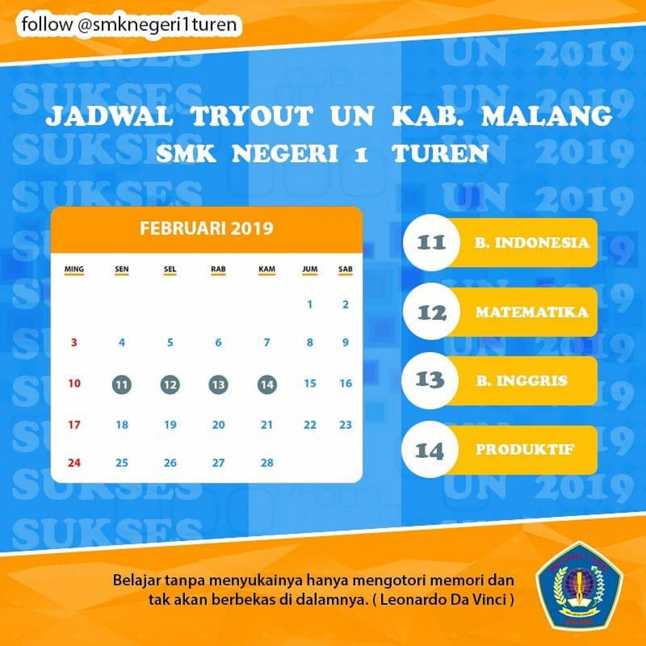 Jadwal Tryout UN MKKS Kab. Malang 2019